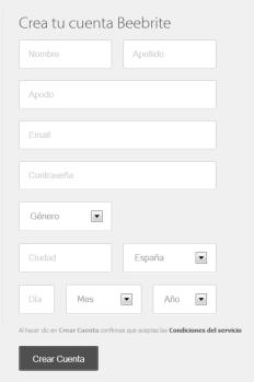 Beebrite formulario de registro