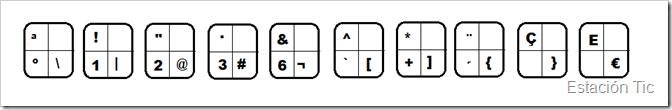 teclas con tres signos distintos