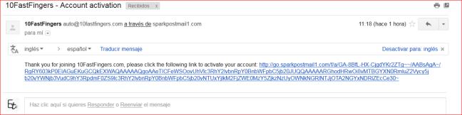correo activación 10fastfingers